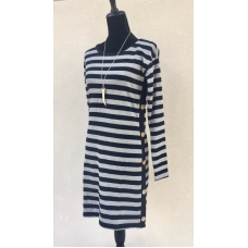 Anna Lane Black & Gray Striped Sweater Dress with Side Button Detail